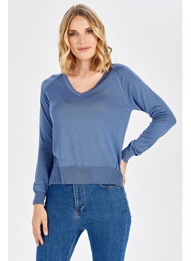 Peraluna Peraluna Mavi V Yaka Basic Kadın Triko Bluz Mavi
